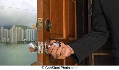 świat, biznesmen, drzwiowe odemknięcie, nowy