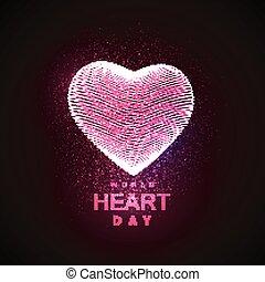 świat, dzień, tło, serce