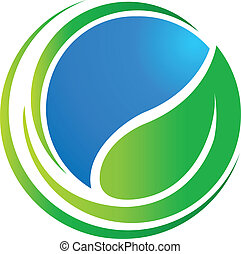 świat, ekologia, liść, dookoła, logo