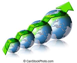świat, finansowy, handlowy, &