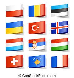 świat, flags., europe.