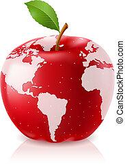 świat, jabłko, czerwony, mapa
