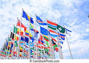 świat, krajowy, bandery