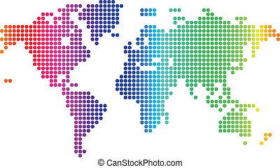 świat, kropkowany, mapa
