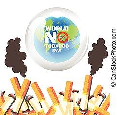 świat, nie, dzień, tytoń, afisz