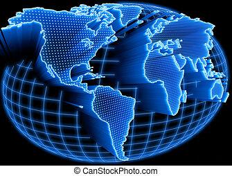 świat, oświetlany, mapa