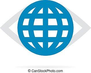 świat, oko, logo