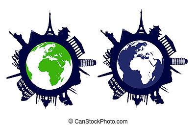 świat, punkty orientacyjny