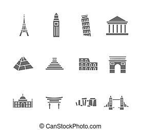 świat, punkty orientacyjny, sylwetka, ikony, komplet