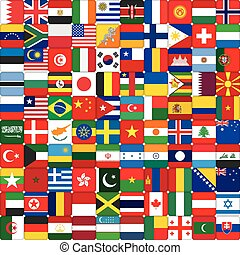 świat, robiony, bandery, tło