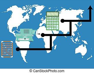 świat, rozwój, calculators., postęp