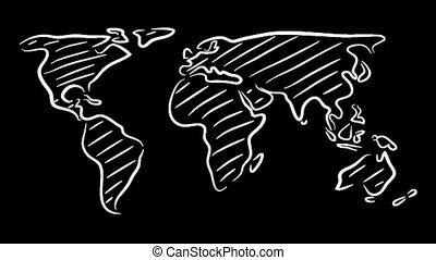 świat, rys, mapa, ruszać się w jedną i drugą stronę