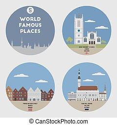 świat, sławny, places., komplet, 5