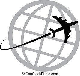 świat, samolot, dookoła, ikona