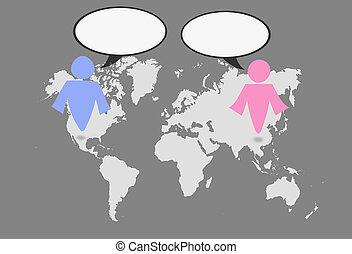 świat, symbol, kobieta, map., człowiek