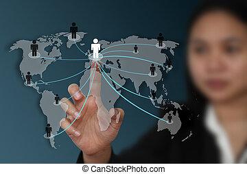 świat, towarzyski, sieć, pojęcie