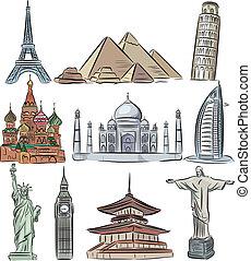 świat, wektor, architektoniczny, zbiór, cudy