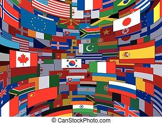 świat, wektor, bandery, backdrop., tło