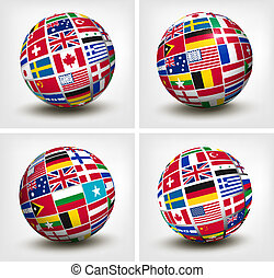 świat, wektor, bandery, globe., illustration.