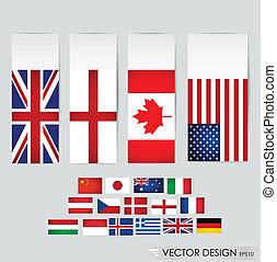 świat, wektor, illustration., flags.