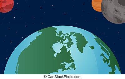 świat, wektor, ilustracja przestrzeń