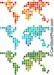 świat, wektor, kropka, abstrakcyjny, komplet, mapa