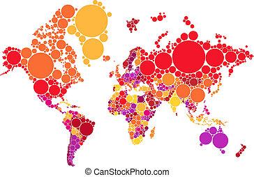 świat, wektor, kropka, abstrakcyjny, mapa