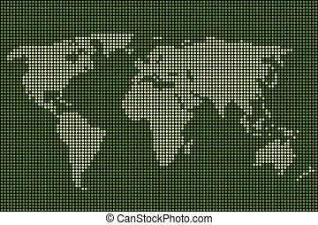 świat, wektor, kropkowany, mapa