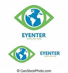 świat, wektor, oko, logo