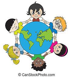 świat, zjednoczony, dzieci, dookoła