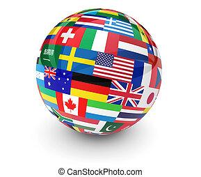 światowa kula, bandery, handlowy, międzynarodowy