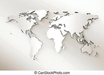 światowa mapa, -, 3d, wyryty, biały, światowa mapa