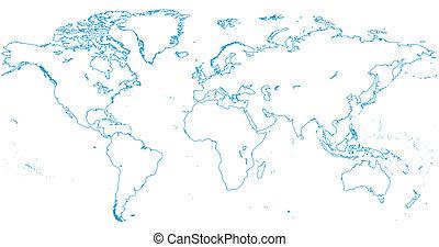 światowa mapa, |, kontynenty