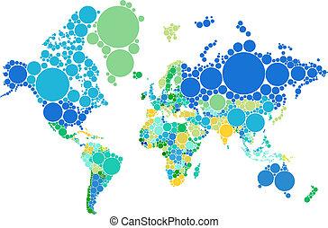 światowa mapa, kropka, kraje