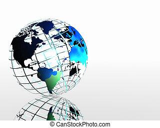 światowa mapa, na, grid.