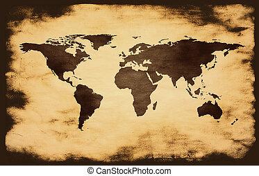 światowa mapa, na, grunge, tło