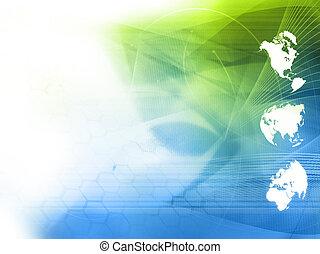 światowa mapa, technologia, styl, -, doskonały, tło, z,...
