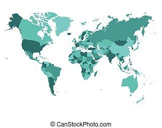 światowa mapa, w, cztery, duchy, od, turkus, blu, na białym,...