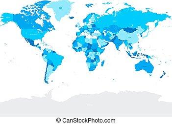 światowa mapa, wektor, szczegół, polityczny, cześć, błękitny...