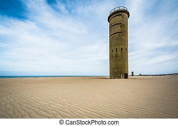 światowa wojna ii, obserwacja wieża, na, przylądek henlopen,...