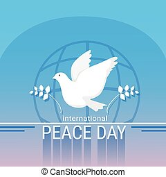 światowy pokój, dzień, afisz, biała gołębica, ptak, symbol