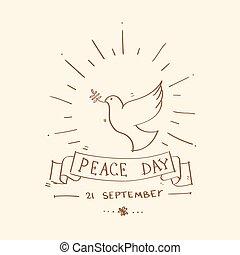 światowy pokój, dzień, afisz, rys, gołębica, ptak, symbol