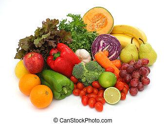 świeża zielenina, grupa, barwny, owoce