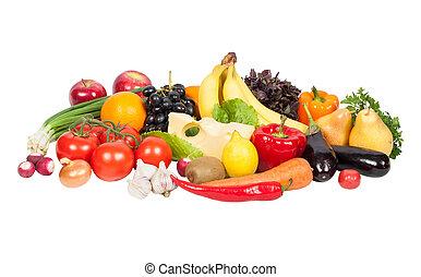 świeża zielenina, i, owoce, odizolowany, na białym