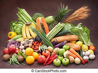 świeża zielenina, i, owoce