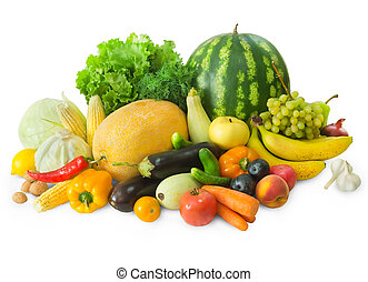 świeża zielenina, komplet, owoce