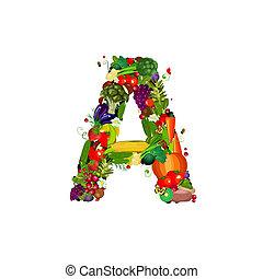 świeża zielenina, litera, owoce