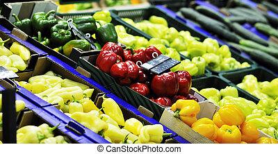 świeża zielenina, supe, targ, owoce