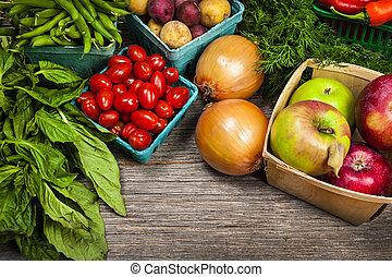 świeża zielenina, targ, owoce