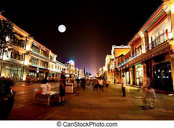 świeżo, re-constructed, qianmen, zakupy, okręg, w, beijing